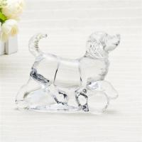 Handpress clear glass home decor glass animal figurine cute galss dog for gift Manufactures