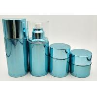 China Blue Glass Cosmetic Pump Bottles / Refillable Airless Pump Bottle Customized Size on sale
