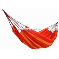 Quality Luxury Family Size Comfortable Brazilian Sleeping Hammock Soft Fabric Cotton Orange Yellow Stripe for sale