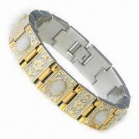 China Healthcare Stainless Steel Bracelet, IP Gold Plating, Suitable for Promotional Purposes on sale