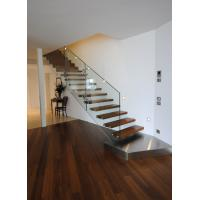 Suspend glass railing wood open riser staircases Manufactures