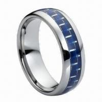 8mm Tungsten Carbide Wedding Band, Can Inlay Black, Red and Green Carbon Fiber Manufactures