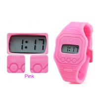 China Pink Super Slim EL light Silicone Wristband Watches Ultra Thin 7 mm on sale