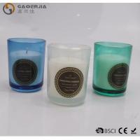China Smokeless Color Spraying Glass Cup Paraffin Wax Candle No Harmful on sale