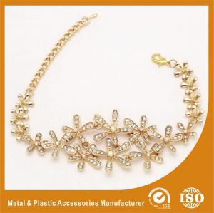 China Gold Custom Metal Bracelets With White Zircon Charm Bracelets For Girls on sale