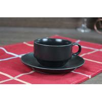 Coffee Tea Black Ceramic Cup With Saucer Handle Weight 190g Custom Decal Manufactures