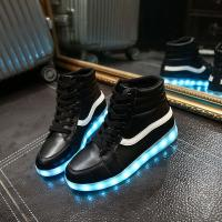 High Top Mens Light Up Shoes , High Cut Boots Vans Kids Led Light Up Shoes Manufactures