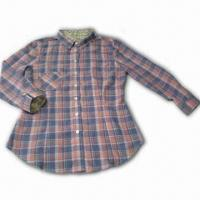 Women's Shirt, Made of 100% Cotton Plaid Fabric, with Trifle Flower Fabric Print Manufactures