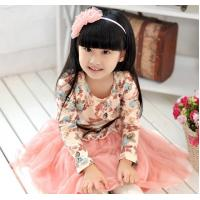 Cotton Childrens Clothes , Long Sleeves Children Dress With Print And Lace Manufactures