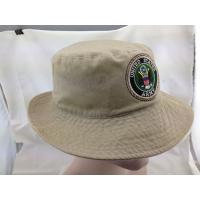 China Khaki Washed Cotton Bucket Hat Embroidered Army Logo Fishing Cap on sale