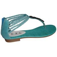Top Quality Cheap Fashion Comfortable Blue PU Ladies Summer Flat Sandals with 1.5cm Heels Manufactures