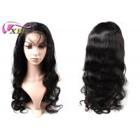 Long Black Body Wave Human Hair Full Lace Front Wigs , Natural Hairline Lace Front Brazilian Hair Wigs Manufactures
