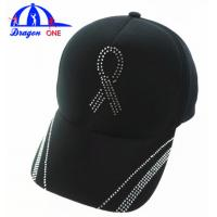 Customs 5 Panel Cap Black Ottoman Cap , Crystal Logo Cap Oem Manufactures