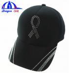Customs 5 Panel Cap Black Ottoman Cap , Crystal Logo Cap Oem Manufactures
