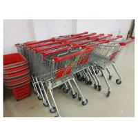 China Grocery Store Wire Shopping Trolley Metal Retail Carts 60L With Zinc Plated on sale