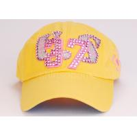 Fashion Yellow 6 Panels Cotton Baseball Caps Adjustable , Hip Hop Hat Manufactures