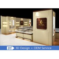 Custom Wooden Glass Jewellery Display Cabinets Cream - Colored For Retail Shop Manufactures