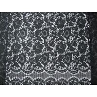Black Nylon Corded Lace Fabric Floral Knitted Shrink-Resistant Manufactures