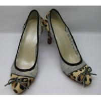 China Sexy Mesh Lace Fabric Leopard Horse Ladies High Heeled Shoes With Zipper on sale