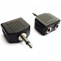 Audio Cable Connectors , 3.5mm Mono Male to Dual Port 3.5mm Mono 2 Female Splitter Adapter Manufactures