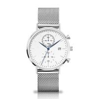 Quartz Chronograph Silver Stainless Steel Watch With Interchangeable Mesh Band Manufactures