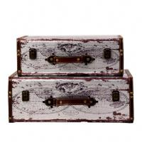 Customized Vintage Pile Ancient Suitcases antique large storage trunk wooden chest leather luggage trunk Manufactures