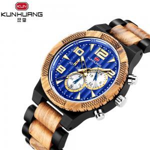 China Black Sandel And Zebra Wooden Quartz Watch Blue Dial Luminous Water Proof 1016-1 on sale