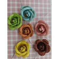 Handmade Brown Fabric Craft Flowers DIY Home Decorations With Printed Dot Manufactures