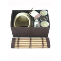 Decorative Ceramic Oil Candle Burner Set Brown / Cream With 8ml Oil Bottle Manufactures