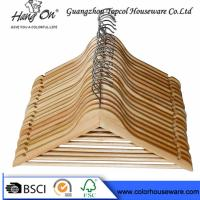Hotel Natural Wooden Hangers / Jacket Coat Hangers With Chrome Round Hook Manufactures