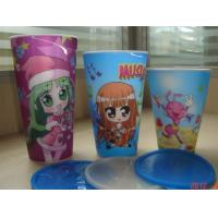 PLASTIC LENTICULAR lenticular printing kid picture changing mug plastic cup pp 3D Lenticular Cup with lid Manufactures