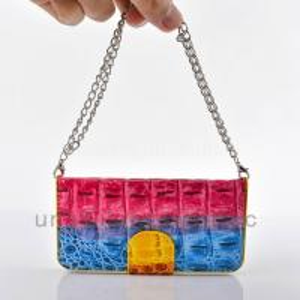 China Multi-Color rainbow Crocodile Skin Handbag Leather Case For iPhone 5/5s on sale