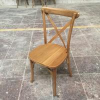 Wedding Event Wooden Upholstered Bar Stools , Stackable X Back Dining Chairs Manufactures