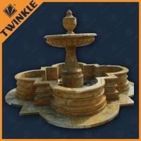 China Antique Hand-carved Marble Water Fountains with Polished Surface , Yellow on sale