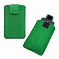 Eco-friendly FELT Pouch with Velcro-protective Slice, for iPhone 4/4S Manufactures