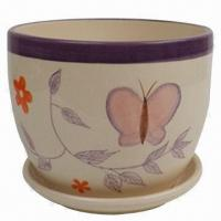 Ceramic Flower Pot with Butterfly and Flowers Painting, Customized Designs are Accepted