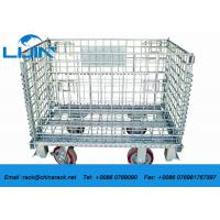 China Zinc Finish Wire Mesh Cages With Foot Brakes / Castors Rigid Rolling Metal on sale