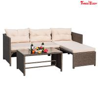 3 Pieces Rattan Sectional Outdoor Lounge Sofa Sets Clearance UV Resistant Manufactures
