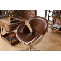 China Industrial Loft Leather Office Swan  Chair Thick Aluminium Sheet Full handwork Craft on sale