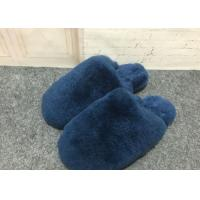 Navy Blue Fluffy Sheep Wool Slippers Quake Proof With Double Face Sheepskin