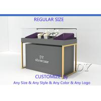 Quality Wood Base Gray Lacquer Jewelry Store Display Case MOQ Is Only 5 Pcs for sale