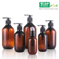 Quality Amber Recyclable Plastic Shampoo Bottles Screw Sealing Cap Thick Wall for sale