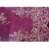Purple Home Textile Embroidered Fabrics High End Apparel Fabric Manufactures