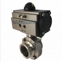 """China Sanitary Clamp Pneumatic Butterfly Valve With Pneumatic Actuator 1"""" ~ 4"""" Size on sale"""