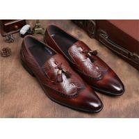 Brogue Wingtips Toe Mens Slip On Tassel Shoes , Male Formal Shoes For Suits