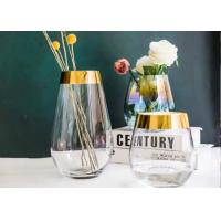 Egg Shape Whiskey Glass Cups With Gold Edge / Glass Flower Vases For Decoration Manufactures