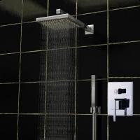 Shower Bath Mixer Set Square Ceiling Mounted Rain Shower Heads 140 x 190mm Manufactures