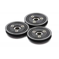 Flanged Ceramic Cable Pulley Wheels Black Color With Bearing , Plastic Body Manufactures