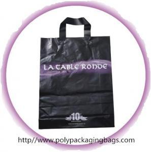 Black Soft Flexible Loop Handle Plastic Bags With Custom Printing Manufactures