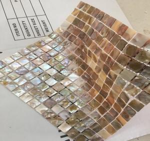 Brown Square Seashell Mosaic Wall Tile , Mother Of Pearl Mosaic Tile Backsplash Manufactures